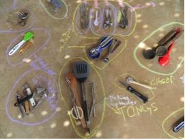 sorting kitchen tools